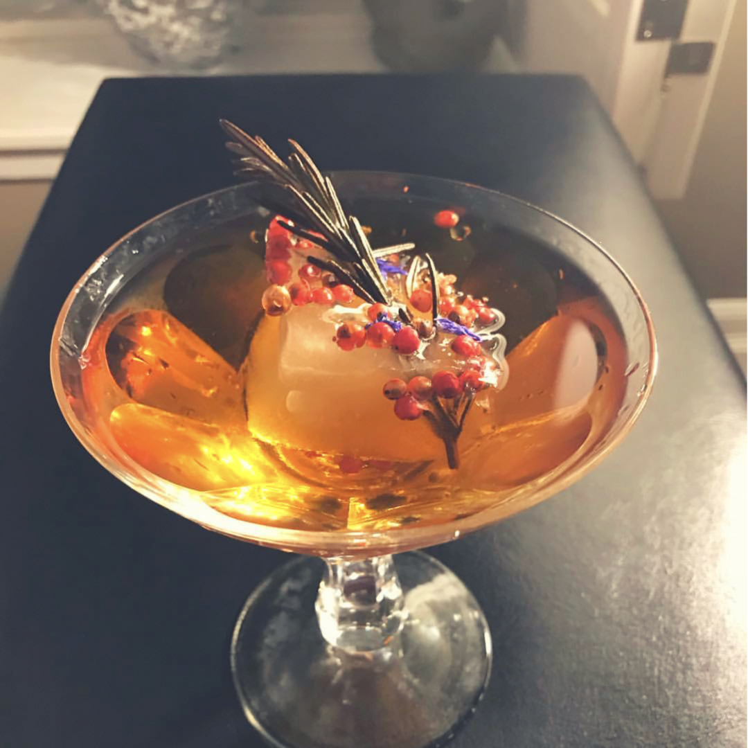 """Christmas Kiss"" Champagne Cocktail created by Liz Palmer"