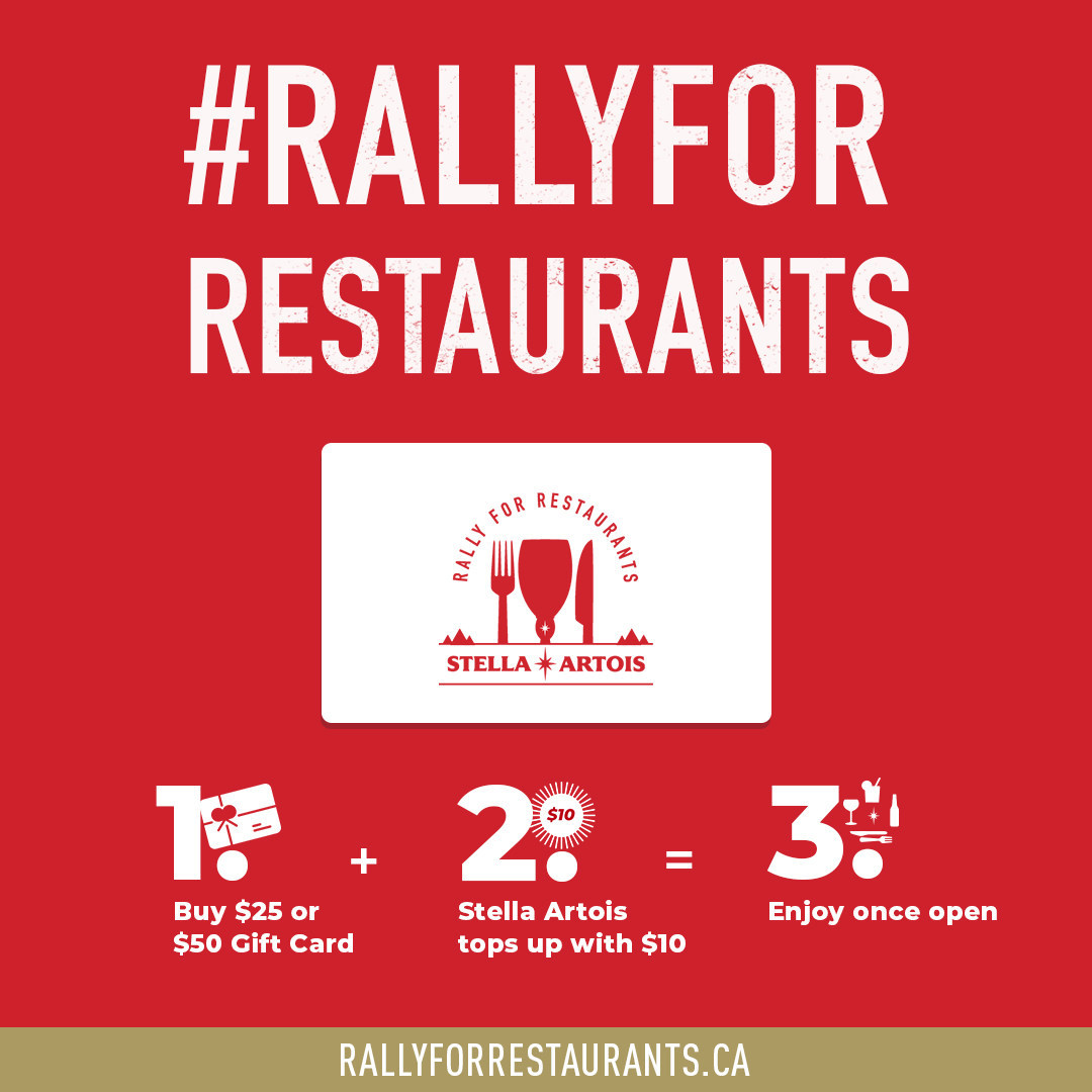 "Stella Artois (Canada) launches ""Rally for Restaurants"" gift card program to help local restaurants and bars hit hard by COVID-19 crisis"