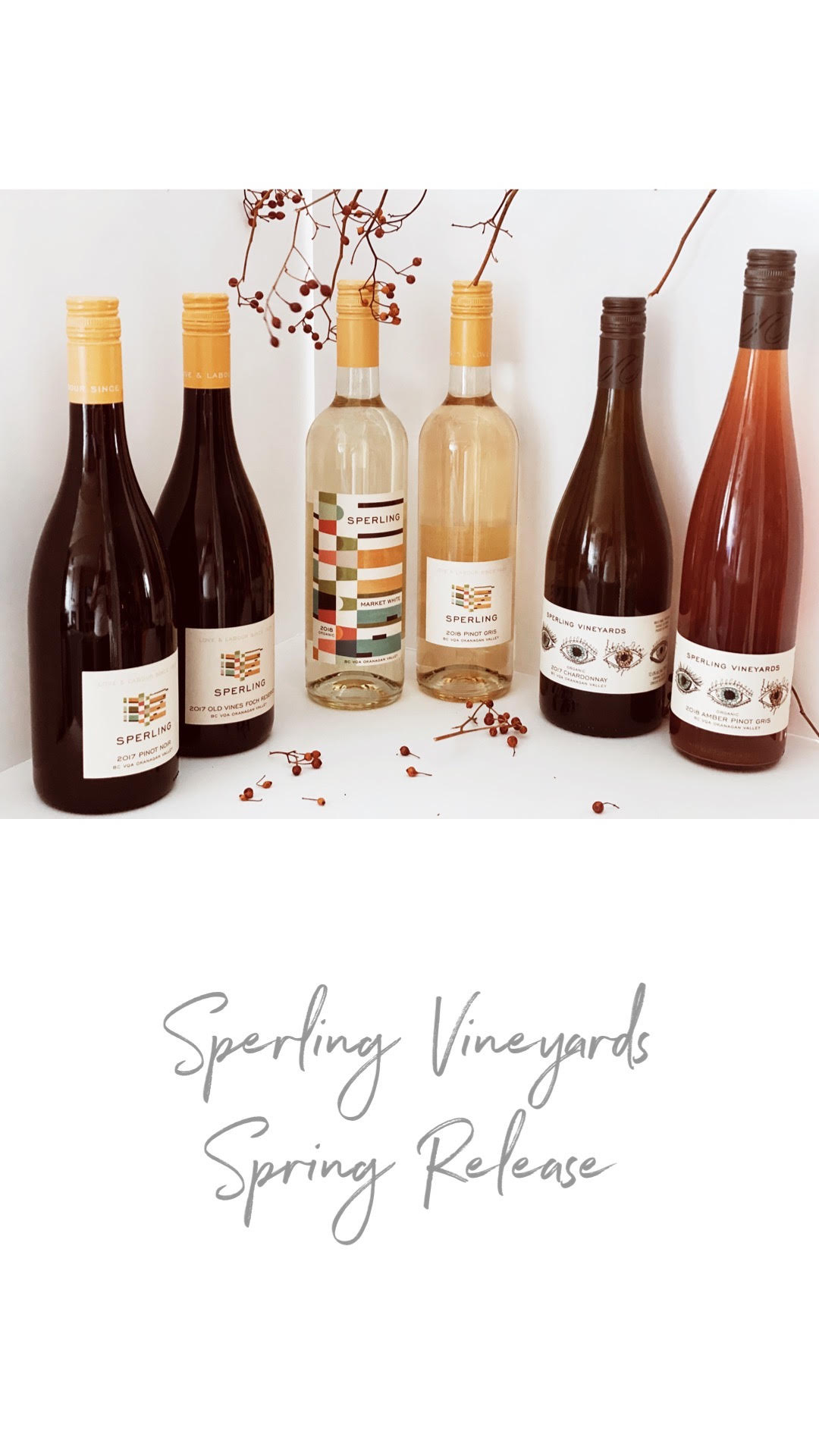 "Spring has finally arrived and so has the arrival of Sperling Vineyards ""Spring Releases"""