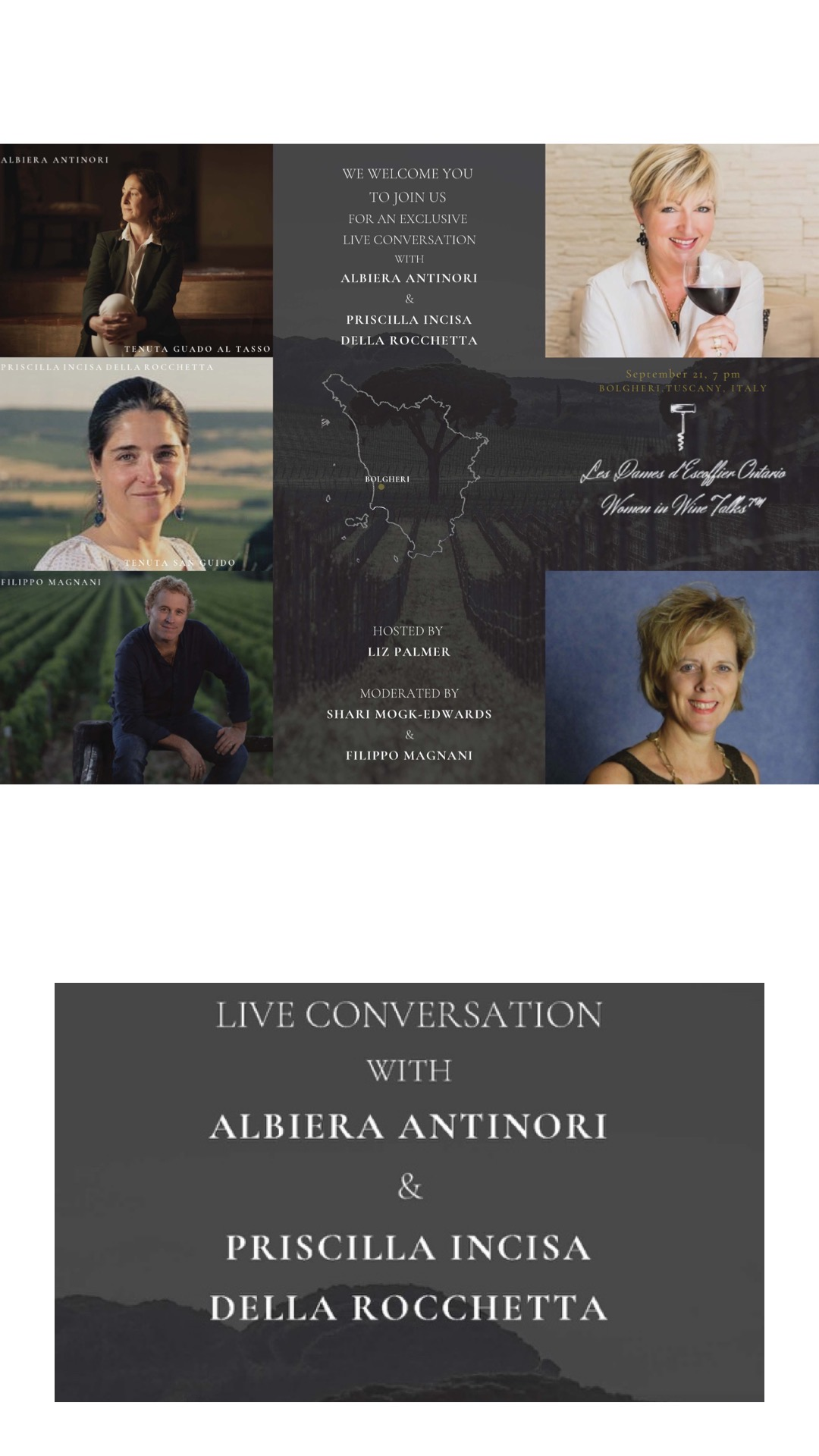 "WOMEN IN WINE TALKS Announces an exclusive ""Live Talk"" with Albiera Antinori – Tenuta Guado al Tasso and  Priscilla Incisa della Rocchetta – Tenuta San Guido"