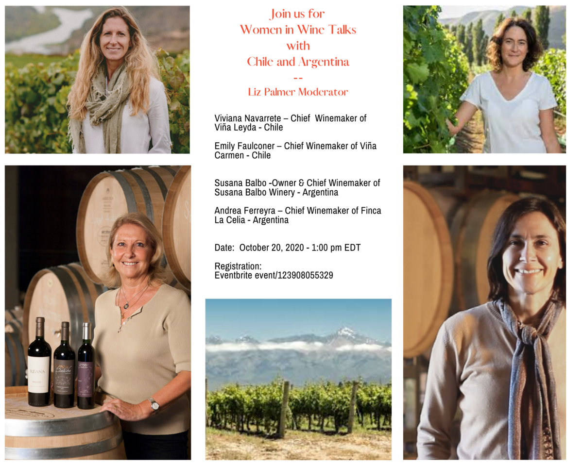 Women in Wine Talks with Chile and Argentina – October 20, 2020 1:00 PM EDT