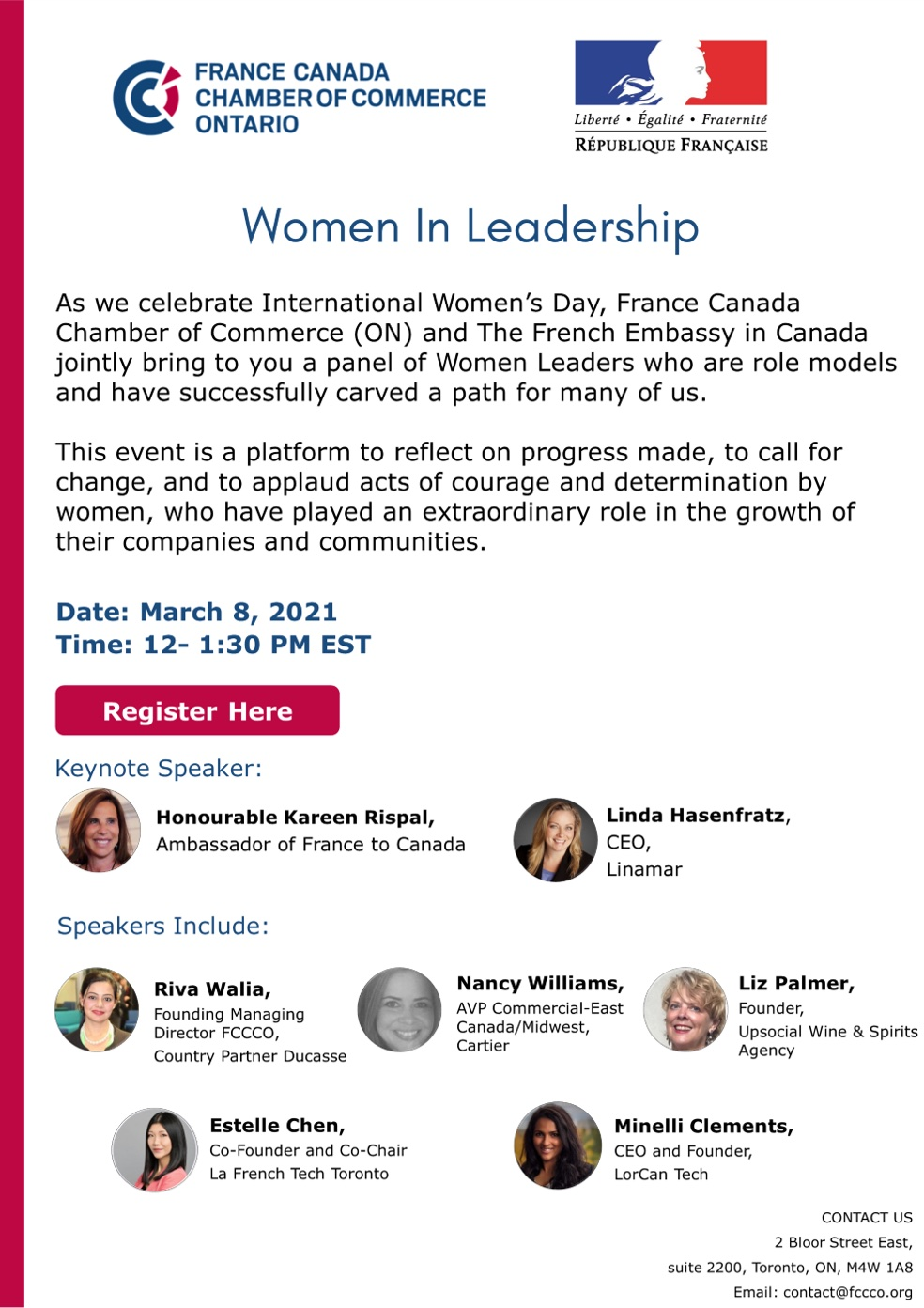 CELEBRATE INTERNATIONAL WOMEN'S DAY WITH FRANCE CANADA CHAMBER OF COMMERCE – WOMEN IN LEADERSHIP – MARCH 8TH, 2021