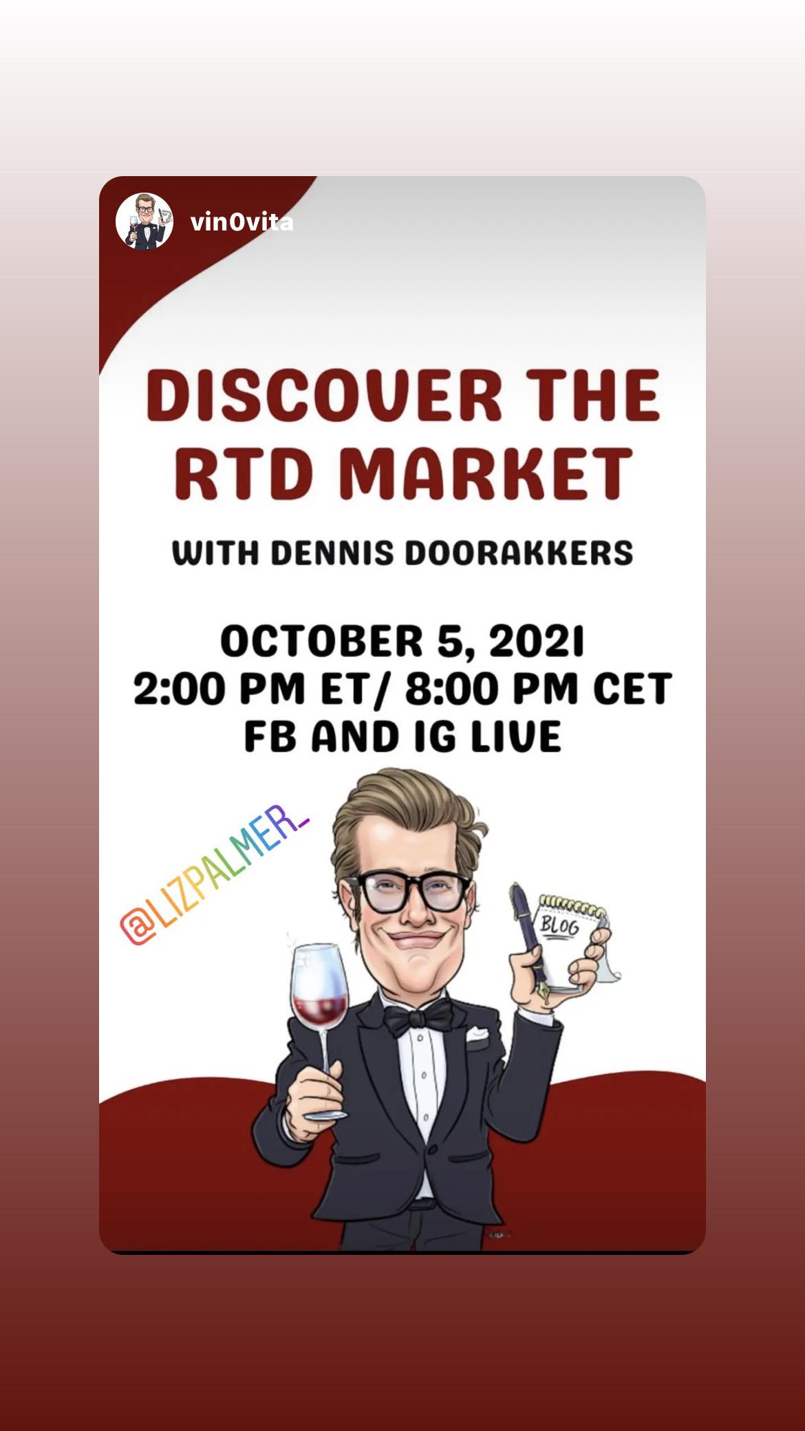 Discover the Fast-Growing RTD Market with Dennis Doorakkers [Oct 5 2 PM ET – IG Live @lizpalmer_]